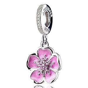 ATHENAIE 925 Sterling Silver Romantic Pink Enamel Plum Blossom Pendants with CZ Birthstone Dangle Charm