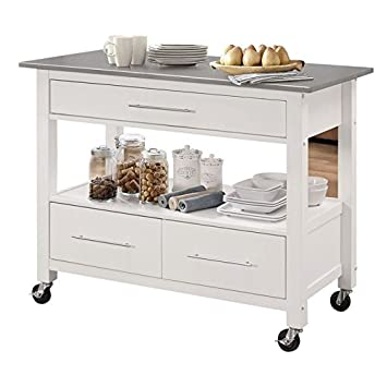 Amazon.com - BOWERY HILL Stainless Steel Top Kitchen Island ...