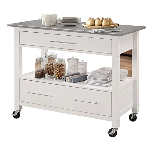 ACME Furniture 98330 Ottawa Kitchen Isl Island, Stainless Steel/White by Acme Furniture