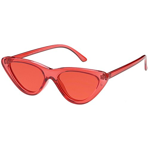 sunglassLA - Women's Extreme Translucent Cat Eye Sunglasses Color Tinted Flat Lens 51mm - Extreme Eye Sunglasses Cat