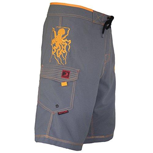 Maui Rippers Men's Board Shorts Hawaiian Octo Tako (36, Grey)