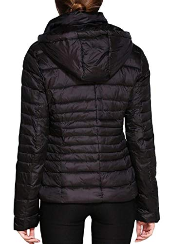 Padded Down Winter Zipper Short Parka EKU Quilted Black Coat Hooded Women's Jacket tqR5wIS