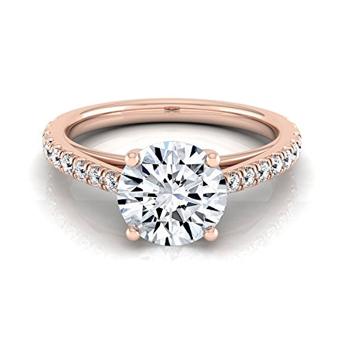 (14K Rose Gold Pave Set 3/4 ct. t.w. Round Brilliant Cut Diamond Engagement Ring, Size 5)