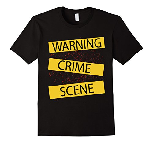 Mens Crime Scene Tape Shirt With Blood Stains For Halloween 2XL Black -