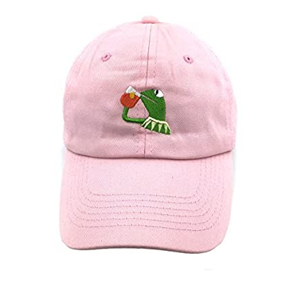 20a51ff29e4 Image Unavailable. Image not available for. Color  SYWHPS Kermit The Frog  Dad Hat Cap Sipping Sips Drinking Tea Champion Lebron Costume (Pink