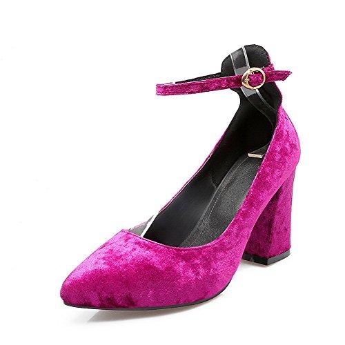 VogueZone009 Femme Pointu Boucle Suédé Couleur Unie à Talon Haut Chaussures Légeres Cramoisi DQNzNus3