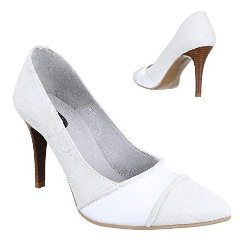 Damen Schuhe, 5447B, Pumps Leder High Heels Weiß Grau