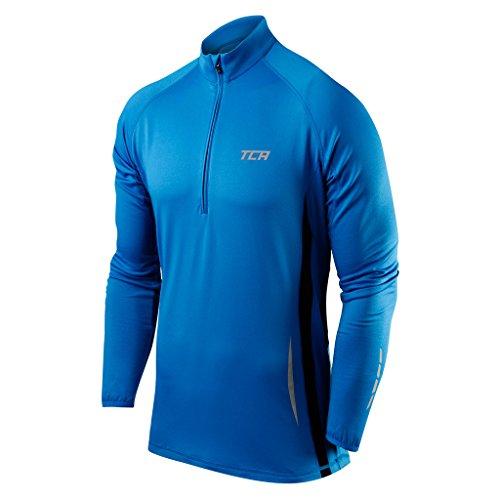 (TCA Winter Run Men's Half-Zip Long Sleeve Running Top - Blue Large - Blue - Large)
