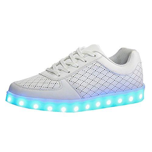 UDreamTime Erwachsene 7 Farben LED-Blitzen-Turnschuhe Sportschuhe Weiß 42 ovRjn