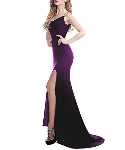 Damen Schlitz 38 V Ballkleider Dehnbar Linie Ausschnitt Abendkleid Perlen Lila Formale A Langes Schwarz Zurück mit Durchsichtig 0wqr0R4
