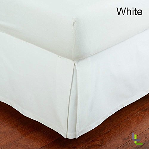 Bedskirt Pattern (100% Egyptian Cotton 9 Inch Fall Bed Skirt 400 TC Solid Pattern All Sizes & Colors (QUEEN , White ))