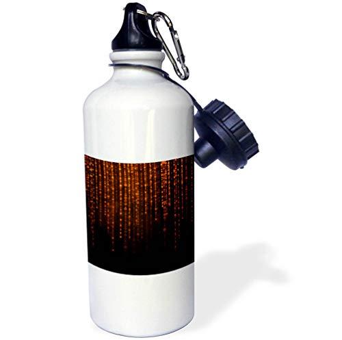 3dRose Anne Marie Baugh - Sparkle and Shine - Glam Orange On Black Image of String Lights Design - 21 oz Sports Water Bottle (wb_295481_1) by 3dRose