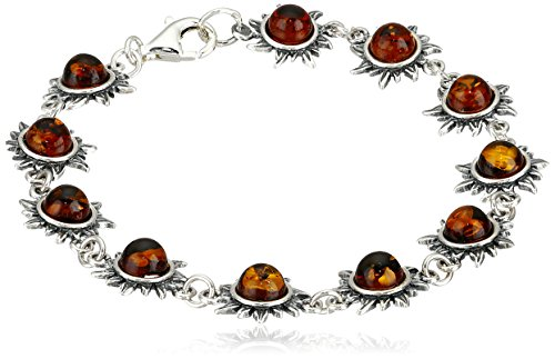 Sterling Silver and Baltic Honey Amber Flaming Sun Bracelet, 7