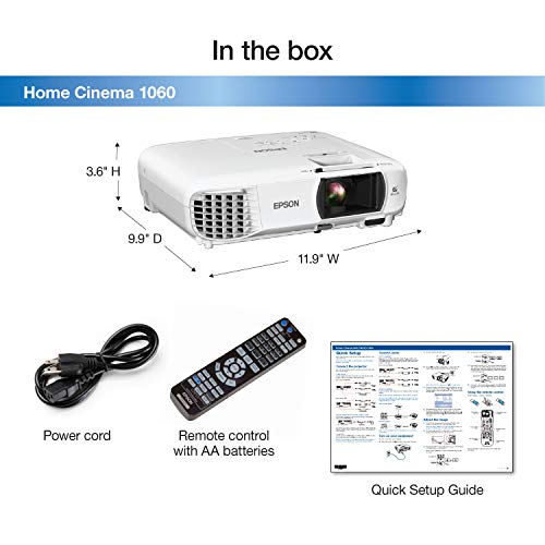 Epson Home Cinema 1060 Full HD 1080p 3,100 lumens color brightness (color light output) 3,100 lumens white brightness (white light output) 2x HDMI (1x MHL) built-in speakers 3LCD projector by Epson (Image #3)