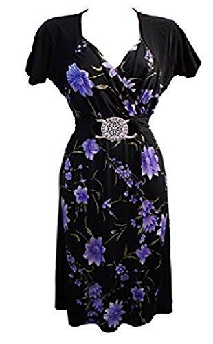 Holidaysuitcase - Mujer talla grande Fiesta navidad noche favorecedor vestido contraste 12 -26 UK negro y morado