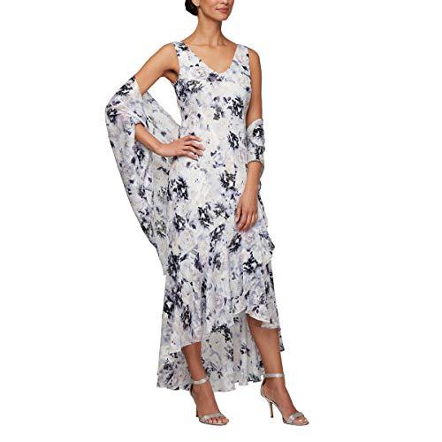 Alex Evenings Women's Tea Length Printed Chiffon Dress with Shawl, Lilac Multi, 12