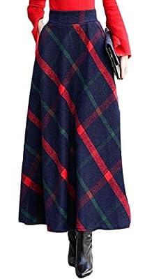 Wofupowga Womens Woolen Plaid Swing Vintage Elastic High Rise Pleated Long Skirt