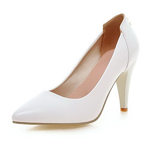 AllhqFashion Damen PU Hoher Absatz Spitz Zehe Rein Ziehen auf Pumps Schuhe Weiß