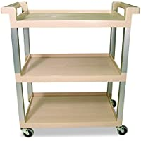 Rubbermaid Commercial 9T6571BG Three-Shelf Service Cart w/Brushed Aluminum Upright, 16-1/4 x 31-1/2 x 36, Beige