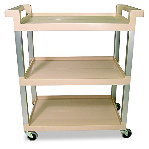 Aluminum Brushed Shelf - Rubbermaid Commercial 9T6571BG Three-Shelf Service Cart w/Brushed Aluminum Upright, 16-1/4 x 31-1/2 x 36, Beige