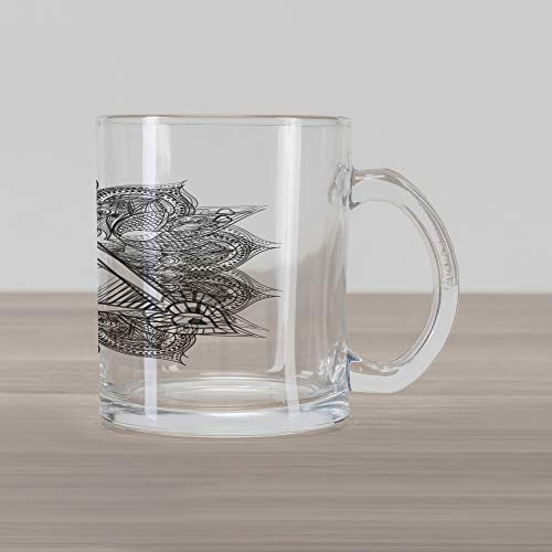 Ambesonne Eye Glass Mug, Vintage All Seeing Eye Tattoo Symbol with Boho Mandala Providence Spirit Occultism, Printed Clear Glass Coffee Mug Cup for Beverages Water Tea Drinks, Black White