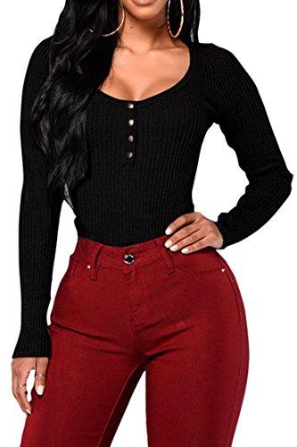 Fixmatti 1PC Long Sleeve Cotton Knit V Button Slim Bodycon Black Bodysuit Top for Women XL (Slim Cotton Bodysuit)
