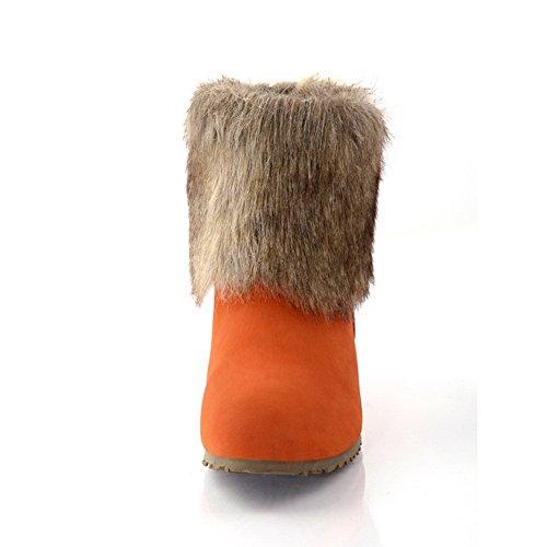 Amoonyfashion Femme Fermé Bout Rond Talons Bas Givré Court Bottes En Peluche Avec Rehauts À Lintérieur Orange