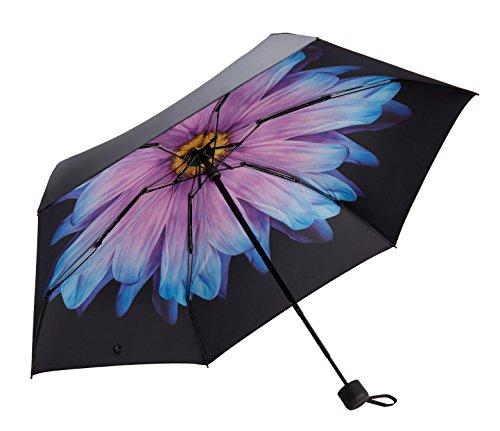 Fidus Mini Compact Sun&Rain Travel Umbrella - Lightweight Portable Umbrella with 95% UV Protection-Purple Daisy