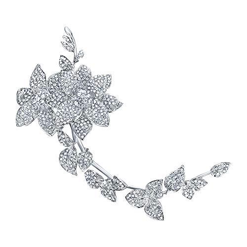 Silver Tone Leaf Brooch - EVER FAITH Women's Austrian Crystal Elegant 9 Inch Flowers Leaf Long Brooch Clear Silver-Tone