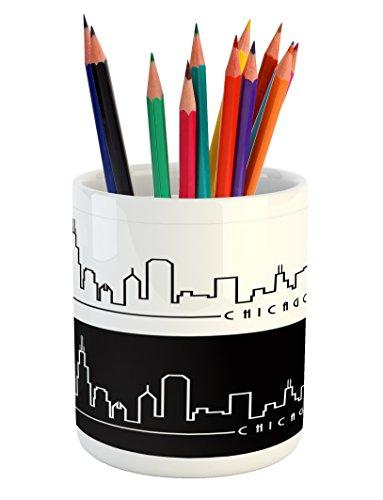 Ambesonne Chicago Skyline Pencil Pen Holder, Minimalist Styl
