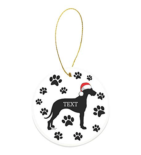 Christmas Dog Gifts Custom Text or Date Great Dane Gifts Personalized Round Ceramic Ornament Dog