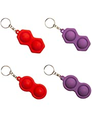 Simple Dimple Toy Keychain, Stress Relief Hand Toys for Kids Adults Anxiety Autism, Pressure Reliever Educational Toy, Keychain Featuring Easily Attaches To Keys, (4 Pack, Red and Purple)