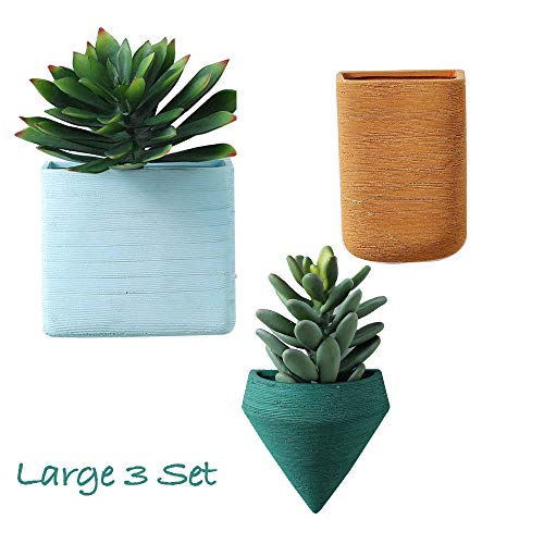 Set of 3 Large Wall Planters Ceramic Hanging Planters Geometric Wall Decor Container - Great Succulent Plants, Air Plant, Faux Plants ...