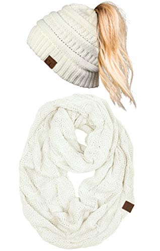 (cBT-6020a-25 Messy Bun Beanie Tail Matching Scarf Set Bundle - Ivory (Solid))