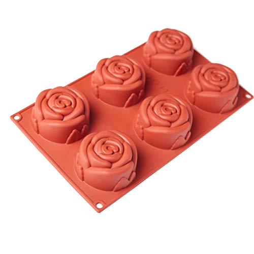 - 6-Cavity Silicone Rose Cake Mold & Baking Mold Non-stick Silicone Cake Pan for Soap, Cookies, Jelly, Chocolate, Ice Cream, Muffin