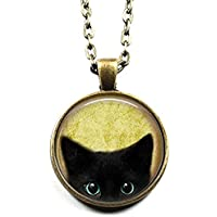 Black Cat Pattern Charm Pendant Chain Necklace Cat Glass Dome Jewelry for Women
