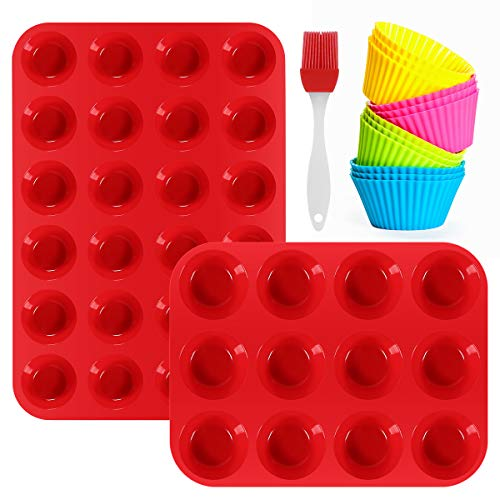 Silicone Muffin Pan Set - 12 Cups & 24 Cups Cupcake Pan, Nonstick BPA Free Best Muffin Pan Baking Trays Food Grade Silicone Baking Molds with 12 Silicone Baking Cups & Cleaning Brush by Winblo (Red)