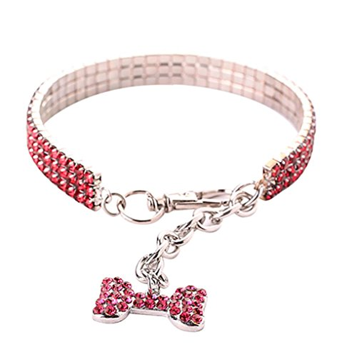 Necklace for Small Dog Girl Wakeu Rhinestone Bling Collars with Bone Pendant (M, Series 2 ~ A)