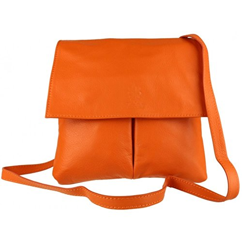 Orange Genuine Double Bag Italian or Pocket Leather Shoulder Cross Pelle Handbag Vera Bag Leather Body vvzq6w4r