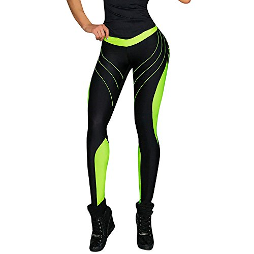 Farjing Womens Pants Clearance,Women Sports Gym Yoga Workout Mid Waist Running Pants Fitness Elastic Leggings (S,Green)
