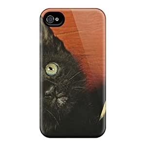 Top Quality Protection A Black Cat With A Broom Case Cover For Iphone 4/4s