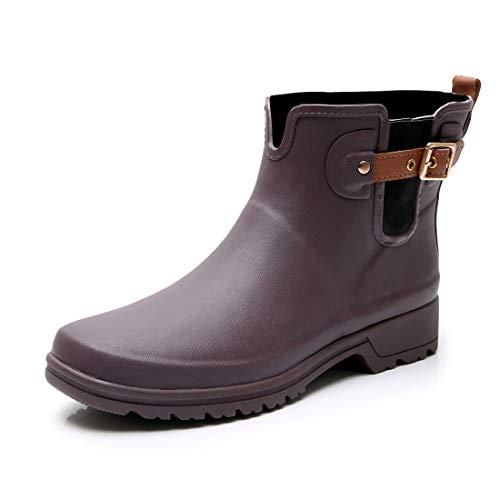 TRIPLE DEER Women's Short Rain Boots Girls Ankle Rubber Chelsea Booties Ladies Rain Shoes Rain Footwear (8, ()