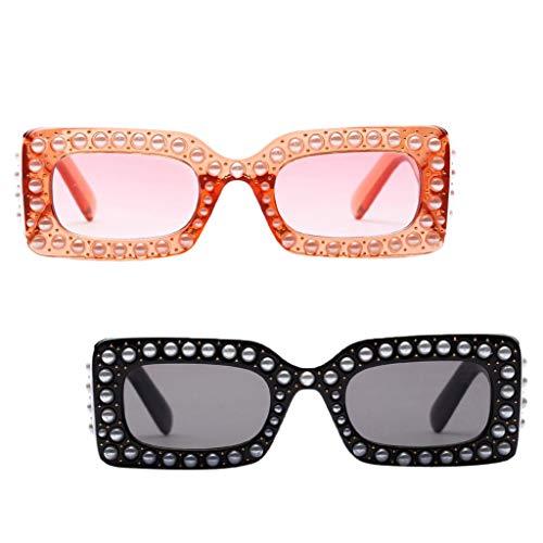 Gafas Marco Lentes de 400 F Vija Diamantes Retro UV de Artificiales para Playa Espejo Estilo Vacaciones Sol Fityle de 2pcs ECFwxC48q