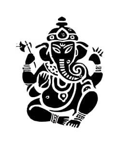 Elefante hindu que dios que sostiene un loto y espada , pegatinas vinilo adhesivo , - 50cm Altura - 50cm Ancho - Negro Vinilo