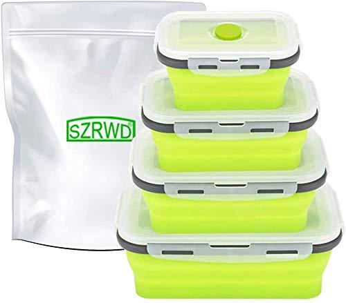 Silikon zusammenklappbaren Container, szrwd 4 Stück wiederverwendbar zusammenklappbar Frischhaltedosen Gefrierschrank zu…