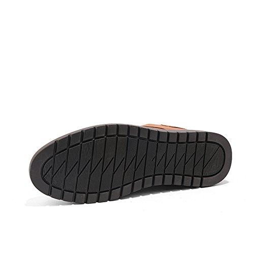 Sunny&Baby Richelieus à Talon Plat pour Hommes en Cuir Couleur Unie Glissement sur des Chaussures Formelles Résistant à l'abrasion (Color : Noir, Taille : 44 EU) Jaune