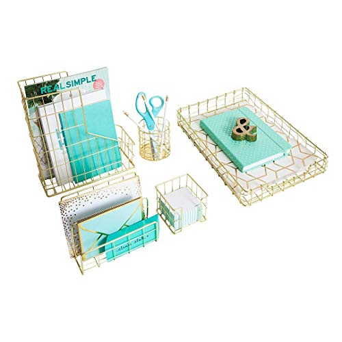 Blu Monaco Office Supplies Gold Desk Accessories for Women - 5 Piece Wire Gold Desk Organizer Set - Letter Sorter, Paper Tray, Pen Cup, Magazine File - Stationery Decor