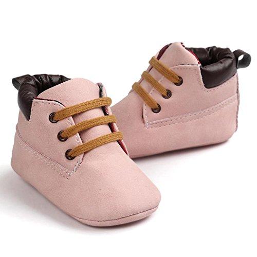 Koly Zapatos de cuero suave de la muchacha del muchacho del niño del bebé (13, Gris) Rosado