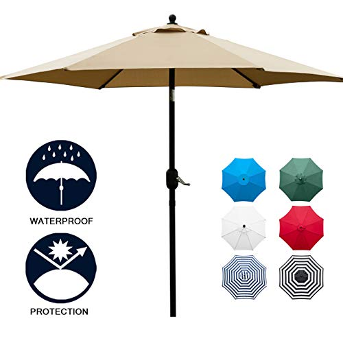 Sunnyglade 7.5' Patio Umbrella Outdoor Table Market Umbrella with Push Button Tilt/Crank, 6 Ribs - Umbrella Outdoor