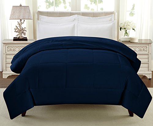 Swift Home All-Season Extra Soft Luxurious Classic Light-Warmth Goose Down-Alternative Comforter, Queen 90'' x 90'', Navy by Swift Home (Image #7)'